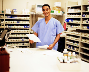 A professional pharmacist working.